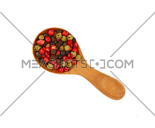 Close up one wooden scoop spoon full of mixed black, green, white and pink red pepper peppercorns isolated on white background, elevated top view, directly above