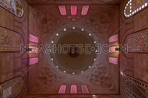Decorated dome mediating ornate ceiling with floral pattern decorations at Khayer Bek Mausoleum, Darb al Ahmar, Cairo, Egypt