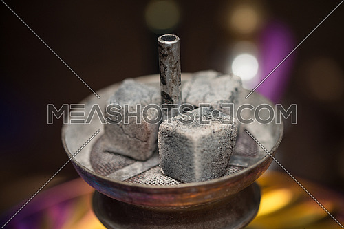 Preparation The Hookah With Charcoal For Smoking The Traditional Hubble-Bubble