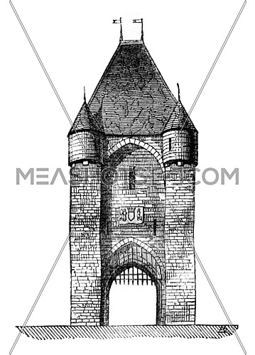 Gate City Moret. vintage engraved illustration. Magasin Pittoresque 1841.