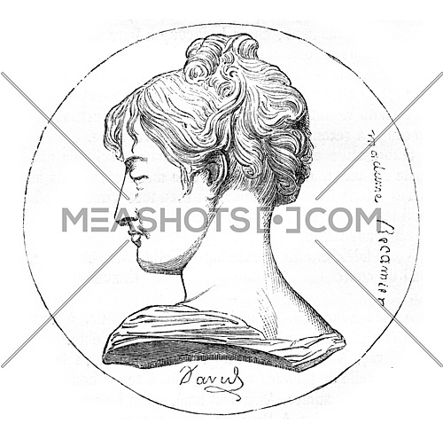 Voy, Madame Recamier on the table thirty years, Medallion by David d'Angers, vintage engraved illustration. Magasin Pittoresque 1869.
