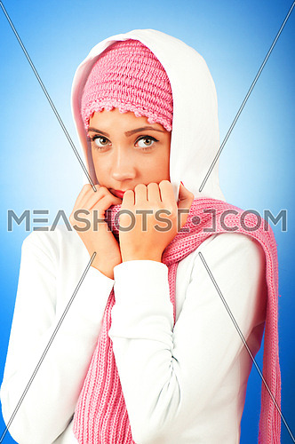 Young girl in warm clothes