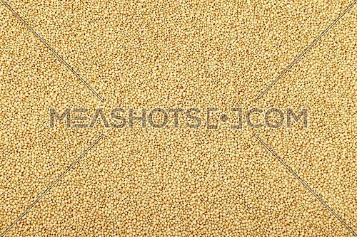 Amaranth grain seeds close up pattern background, elevated top view