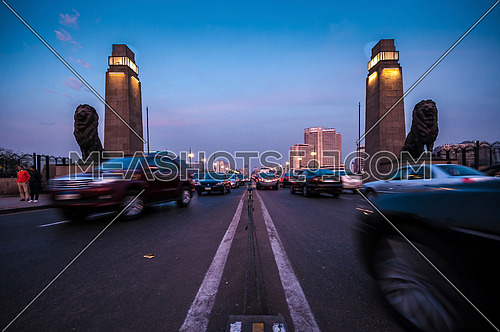 Long shot for Qasr Al Nile Bridge at sunset