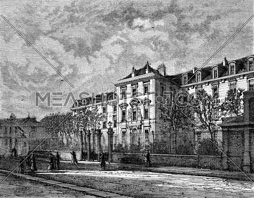 The Normal School, exterior view, vintage engraved illustration. Magasin Pittoresque 1873.