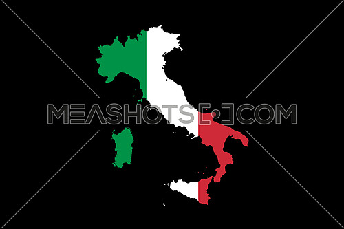 Map of Italy With Italian Flag Isolated On Black Background  illustration
