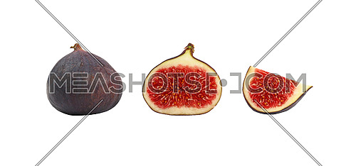 Close up one whole fresh ripe fig fruit with cut half and quarter slice isolated on white background, low angle side view