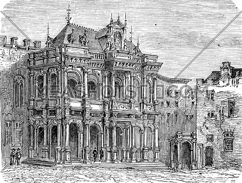 Cologne City Hall, vintage engraved illustration. From Chemin des Ecoliers, 1861.