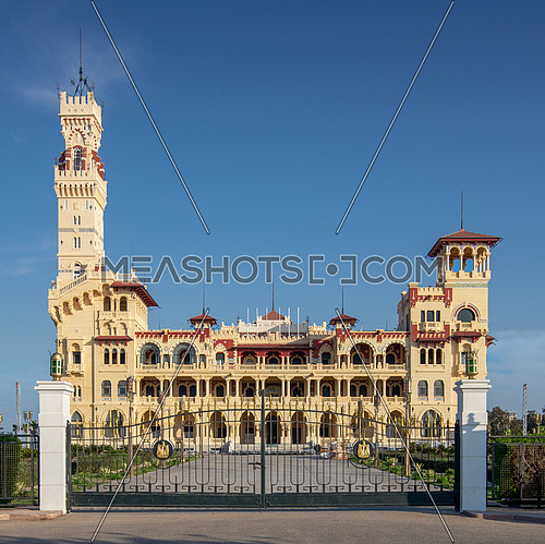 Front view of the royal palace at Montaza public park before sunset, Alexandria, Egypt