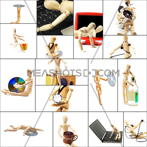different pose and concepts wood mannequin collage collection