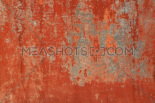 Grunge red brown old painted wall background texture with stains of faded paint peel and scaling