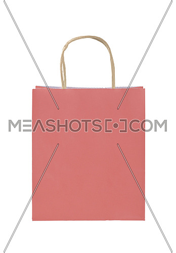 Close up one natural pink paper shopping or gift bag isolated on white, low angle front view