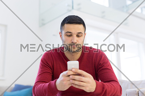 Handsome casual young man using a mobile phone at  home