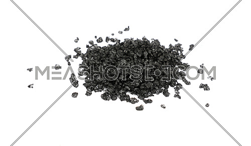Close up one portion, heap of crystals black volcanic Hawaiian salt isolated on white background, high angle view