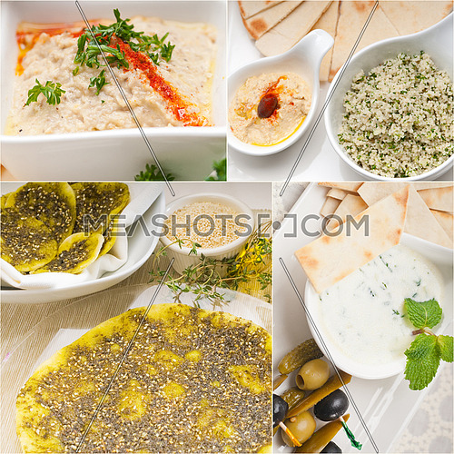 Arab middle eastern food collage collection on white frame