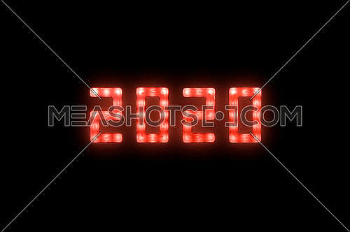 Close up red neon glowing bright led light 2020 year sign on black background