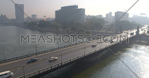 Reveal shot Drone for Kasr Al Nile Bridge in Cairo Downtown at Day