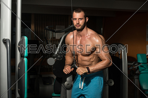 Body builder Doing Heavy Weight Exercise For Triceps In Gym