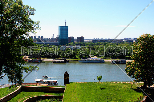 Confluence of the river Sava in Belgrade with the beautiful view on New Belgrade