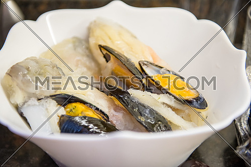 mussel Seafood plate while preparation