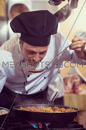 Handsome chef tasting food with spoon at the  restaurant kitchen