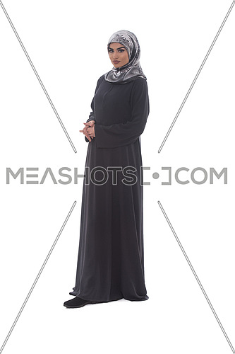 Pretty Young Muslim Woman Full Length Studio Portrait On White