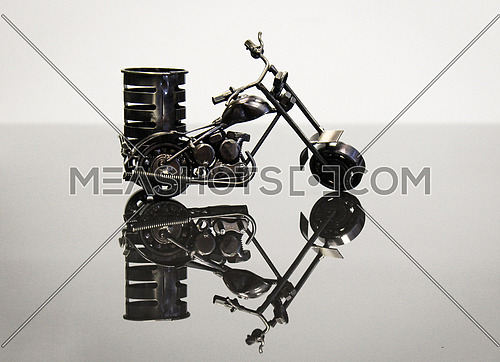 Motorcycle model made of steel on a desk