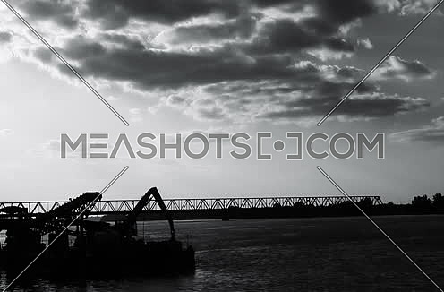 Bridge and barge in the dark Timelapse