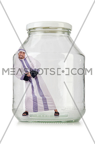 Arab businessman in glass jar