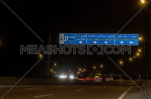 Tracl Right shot for Cars moving at Cairo-Alexandria Desert Road at Night