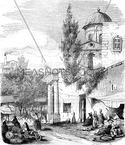 Entrance of Marseille Museum, vintage engraved illustration. Magasin Pittoresque 1845.