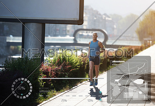 Elderly man jogging down the promenade