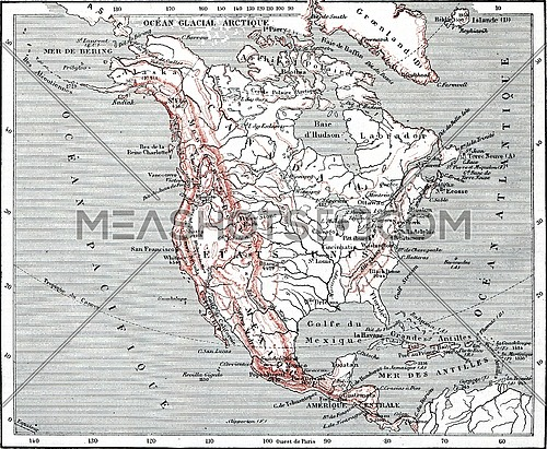 Map of North America, vintage engraved illustration. Dictionary of words and things - Larive and Fleury - 1895.