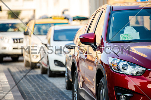 traffic in Dubai, cars moving in the streets 19 December 2015