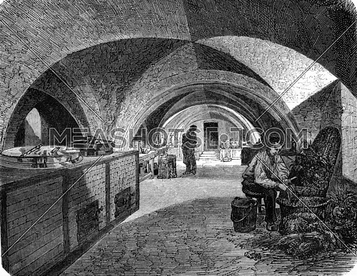 Cuisines of the high school, Napoleon old Abbey of Sainte-Genevieve, vintage engraved illustration. Magasin Pittoresque 1857.