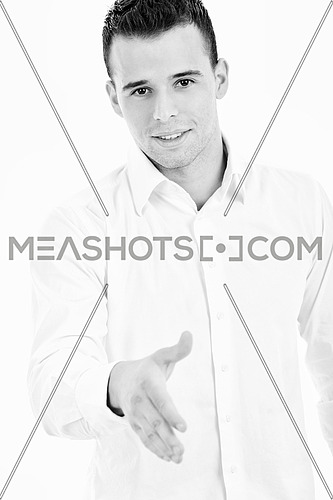 young businessman handshake isolated on white