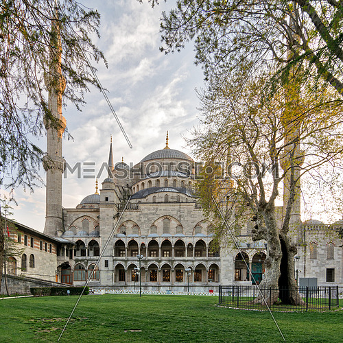 Exterior day shot of Sultan Ahmed Mosque (Blue Mosque), an Ottoman imperial mosque located in Sultan Ahmed Square, Istanbul, Turkey