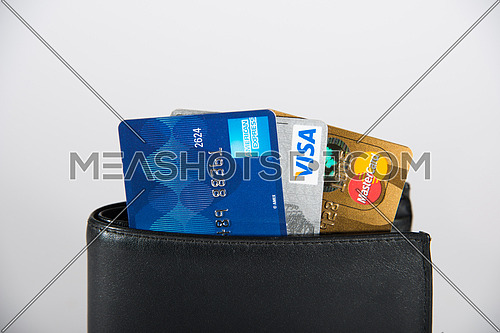 credit cards in black wallet