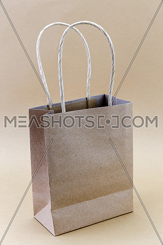 Paper brown shopping bag isolated on brown background