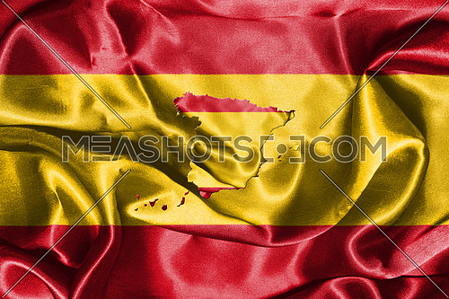 Spanish National Flag Waving In The Wind With Map Of Spain On It 3D illustration