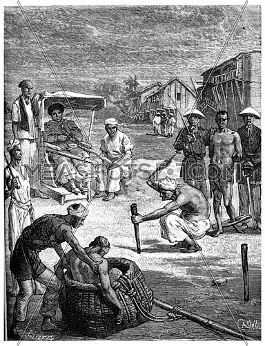 Torture of two pirates Tonkin, The second was sentenced to death in a basket, vintage engraved illustration. Journal des Voyage, Travel Journal, (1880-81).