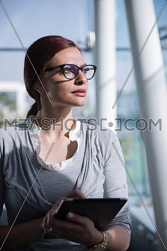 Portrait of a female executive wearing eye glasses and a group meeting is taking place at the background in a bright office