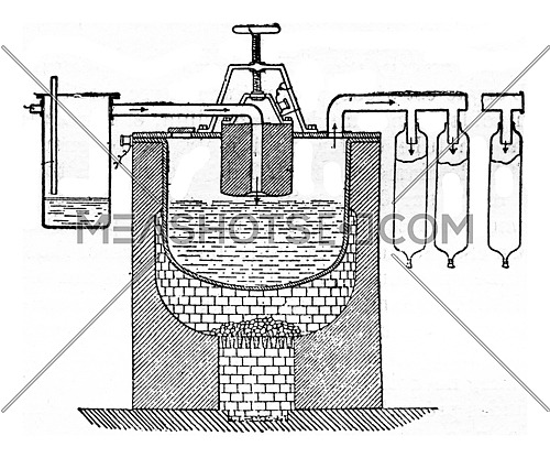 An apparatus for the manufacture of electric white lead, vintage engraved illustration. Industrial encyclopedia E.-O. Lami - 1875.