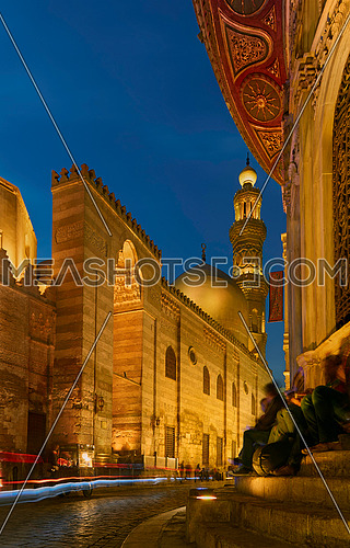 Beautiful buildings of Islamic Cairo at El Moez street, night view.