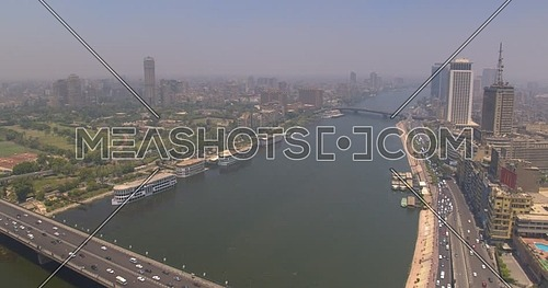 Fly over shot Drone for The River Nile Cairo tower at Day
