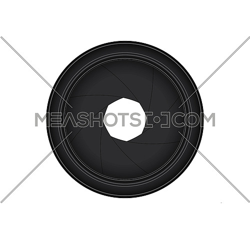 Vector illustration of camera lens shutter aperture isolated on white background, front view