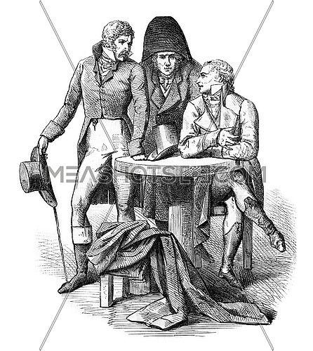 Men's costumes of the year 1798, vintage engraved illustration. Magasin Pittoresque 1880.
