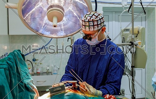 Surgery operating room with electrocautery equipment for cardiovascular emergency surgery center