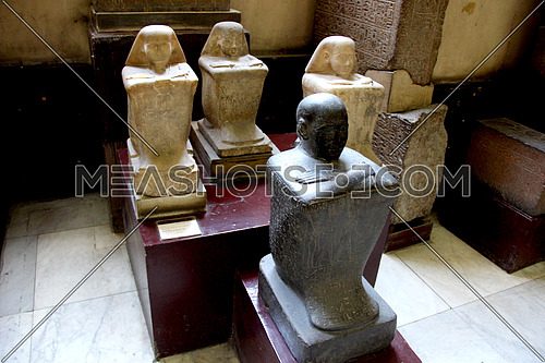a photo from the Egyptian museum showing pharaohs statues belonging to ancient Egypt civilization