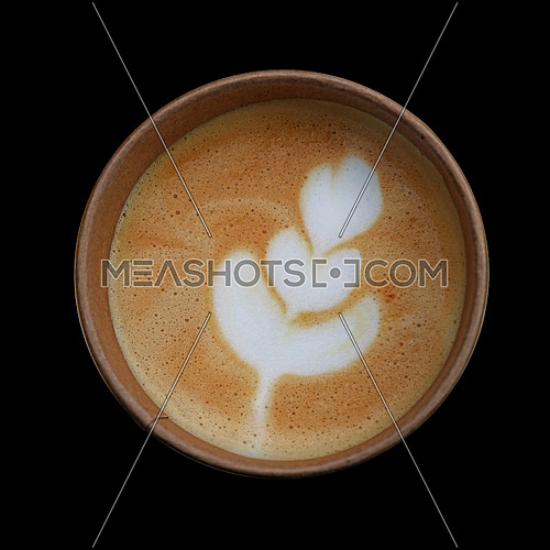 Close up one latte cappuccino coffee in brown paper cup over black background, elevated high angle view